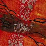 Pathways in Crimson | Mixed Media | 4 x 4 | $45