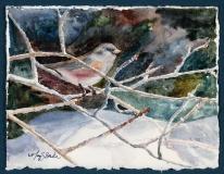 A Snowy Perch | Watercolor | SOLD