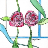 Art Nouveau Roses 3 | Watercolor on Yupo | 5 x5 | $75