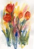 Primary Tulips | Watercolor | 7 x 5 | $105