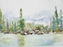 Misty Mountain Lake | Watercolor | 6.5 x 9 | $215