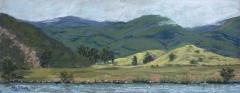 Beyond the Lake | Plein Air Pastel | 6 x 16 | $225