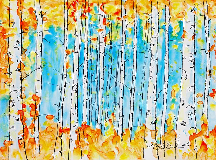 Glade of Orange | Watercolor on Yupo | 9 x 12 | $350