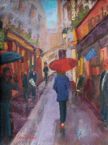 A female wearing blue raincoat and holding a red umbrella walks through the Latin Quarter in Paris in a bold pastel painting by Mary Benke
