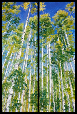 Oil landscape diptych of towering gold and green aspens against a brilliant Colorado blue sky by Mary Benke