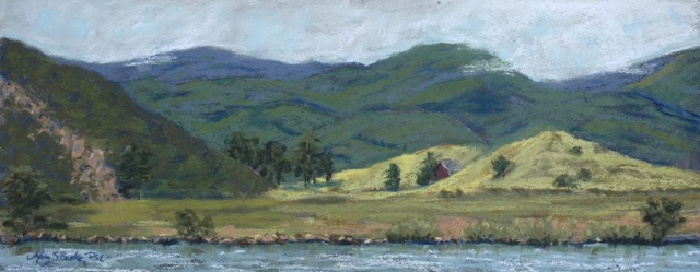 Panoramic landscape pastel painting of Fort Collins' Watson Lake painted en plein air with rolling hills and a hidden barn by Mary Benke