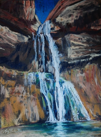 landscape pastel painting of the waterfall at Calf Creek Falls in Escalante Utah by Mary Benke