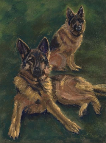 The bold pastel strokes and vibrating colors of this canine portrait capture the unique personalities of this pair of energetic alsatians/German Shepherds by Mary Benke