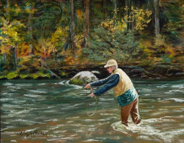 Pastel painting of a  fly fisherman casting in a river with autumn trees in the background by Mary Benke