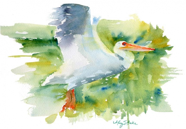 A pelican soars in in this brightly colored fluid watercolor painting by Mary Benke
