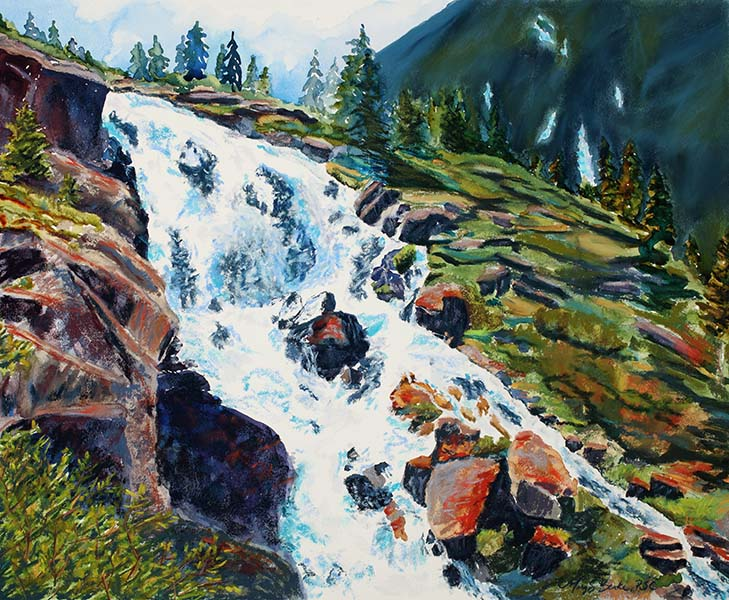 Pastel landscape painting of Continental Falls, a waterfall near Breckenridge, Colorado, by Mary Benke
