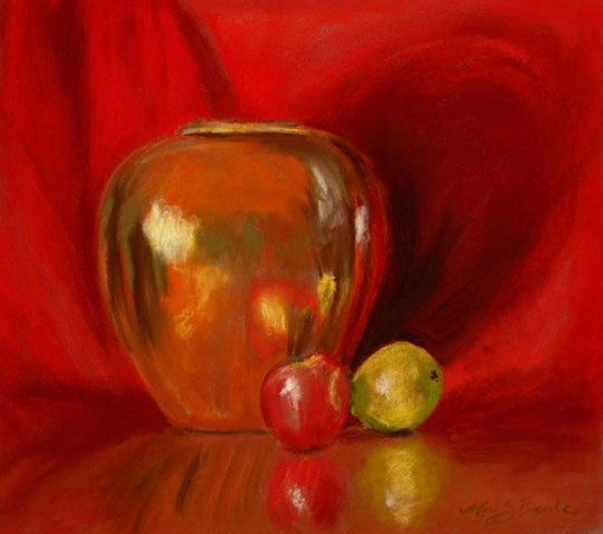 Still life pastel painting of a copper pot with a lemon and a pair against a bright red background by Mary Benke