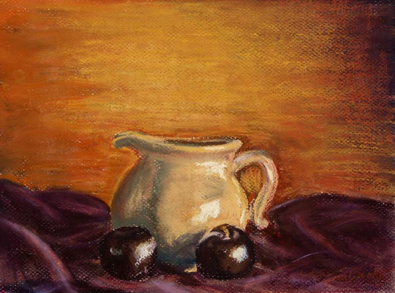 Still life pastel painting small cream pitcher with plums in golds and purples by Mary Benke