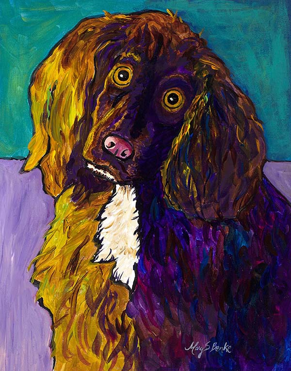 Brightly colored with a background of teal and lavender, this is a charming portrait of an English Cocker Spaniel with a curious expression by Mary Benke