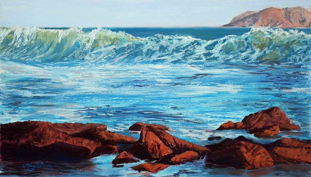 Seascape pastel painting of an ocean wave with rocks in the foreground by Mary Benke