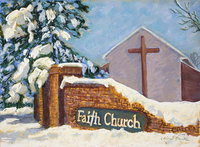A peaceful church lies under a blanket of heavy snow on a bright winter morning in this colorful, textured pastel painting by Mary Benke