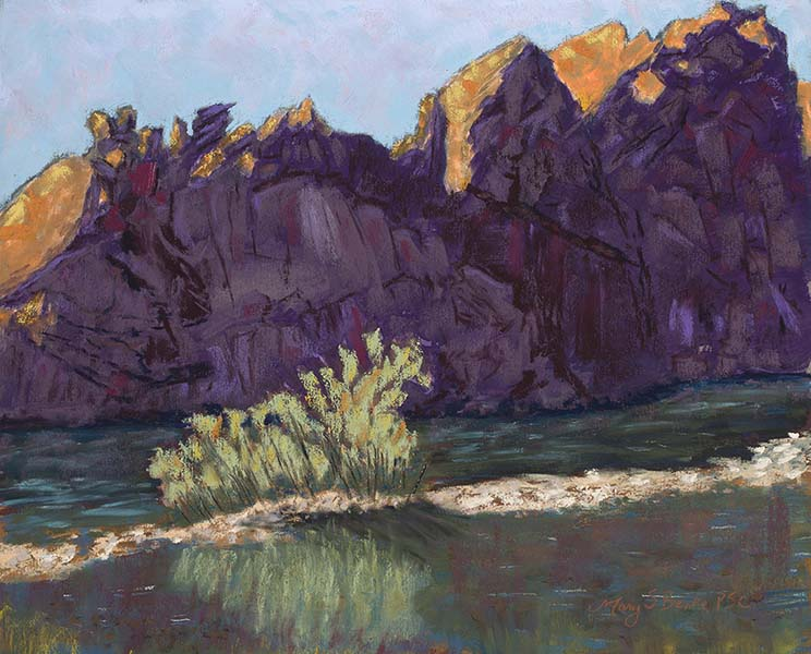 Landscape pastel painting of the sunrise at Picnic Rock along the tranquil Poudre River, Colorado, by Mary Benke