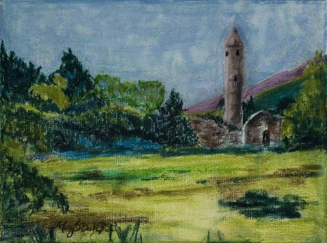 Soft pastel landscape painting of Glendalough, Ireland, by Mary Benke