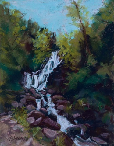 Landscape pastel painting of a dramatic waterfall set in vibrant greenery and warm colored rocks by Mary Benke