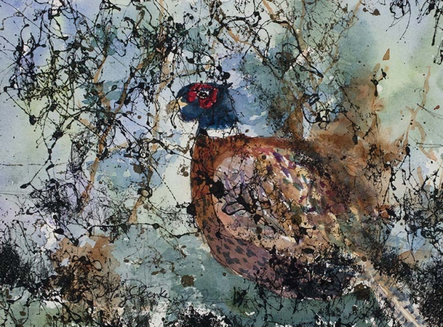 Black webbing and colorful teal and copper colored brush conceals a pheasant in this somewhat abstract mixed media painting by Mary Benke