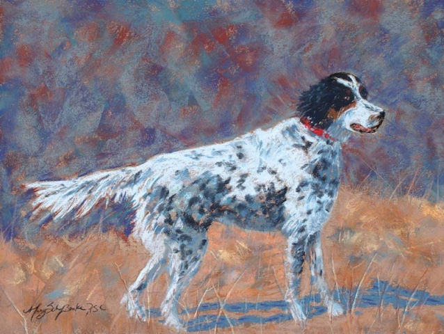 A pastel animal portrait of an English Setter hunting dog on point painted against a colorful background by Mary Benke