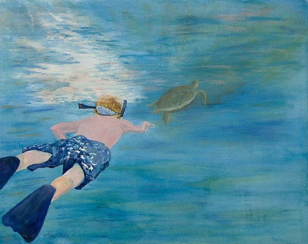 A young boy swims after a sea turtle in a magical watercolor seascape painting in teals, greens, and blues that would be perfect for a child's room or bathroom by Mary Benke