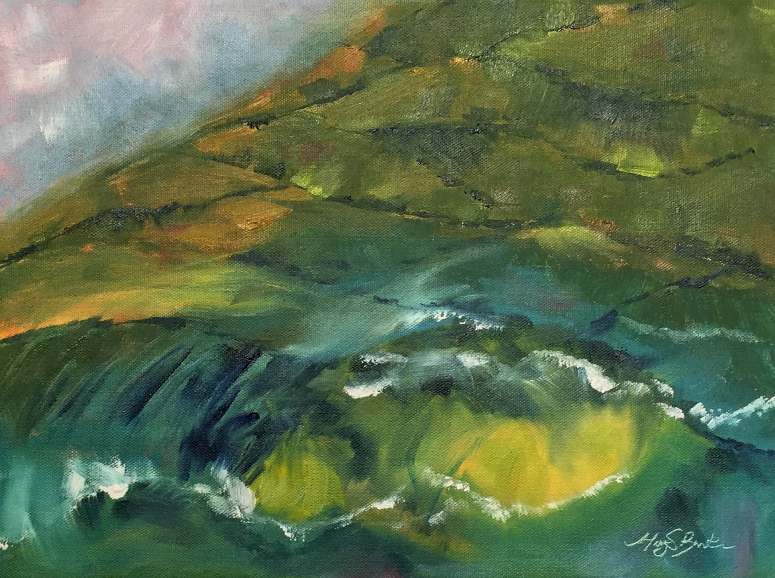 Abstract landscape oil painting of ocean waves fading into patchwork green hills of the Antrim Coast in Northern Ireland by Mary Benke