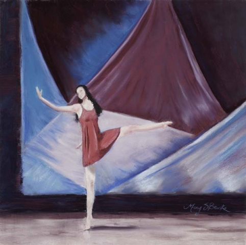 An expressive dancer against an abstract stage set holds a pose during a lyrical/contemporary solo dance performance painted in pastel by Mary Benke