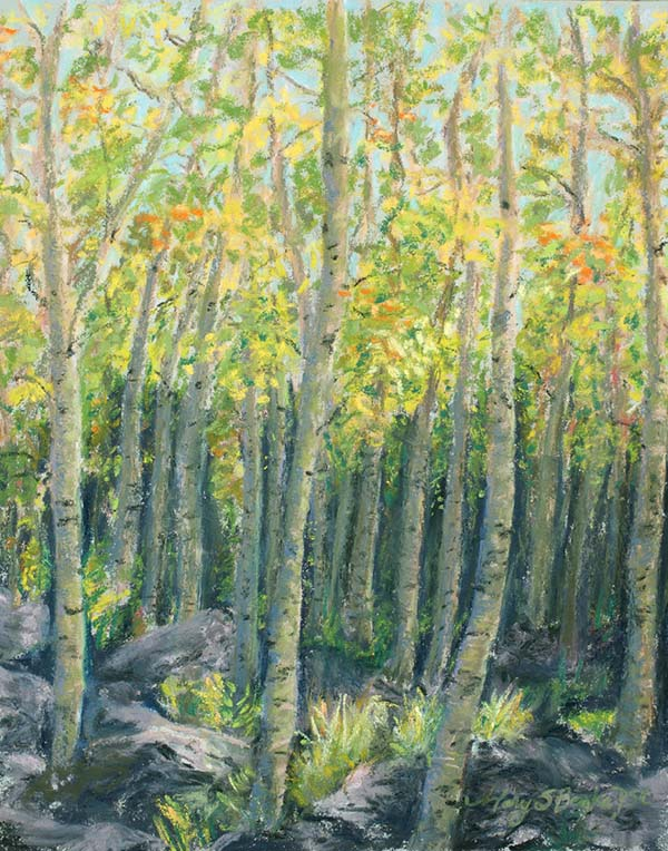 Landscape pastel painting of aspen trees in fall in a glen featuring yellow and orange foliage by Mary Benke