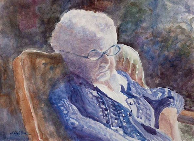 A watercolor portrait of my elderly grandmother, who was sleeping in the sun, although she always said she was just resting her eyes by Mary Benke