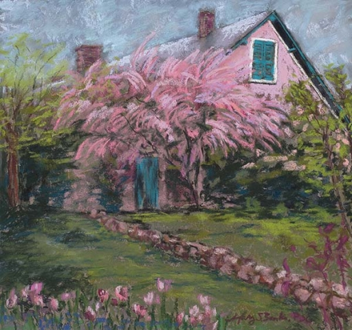 Inspired by a magical visit to Claude Monet's house and gardens at Giverny, France, this pastel painting combines vibrant pinks and greens to capture the idyllic Spring scene by Mary Benke