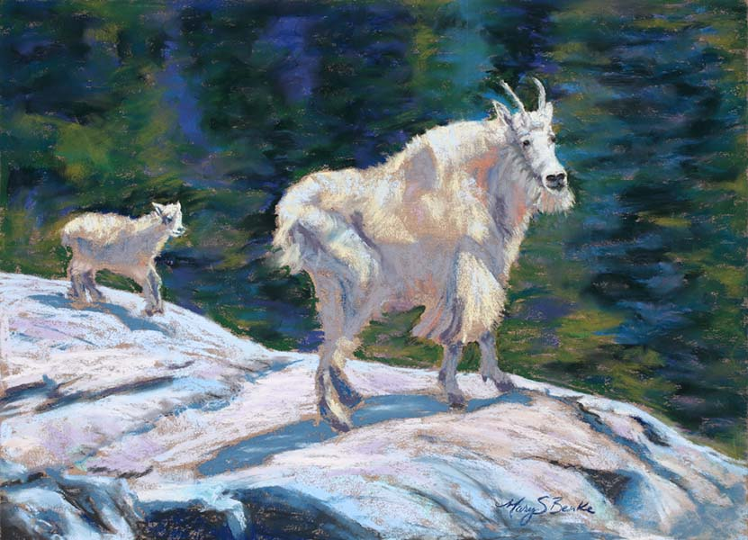 A mother mountain goat/Dall's sheep stands with her baby on a rock against an abstract teal and green background in a pastel animal painting by Mary Benke