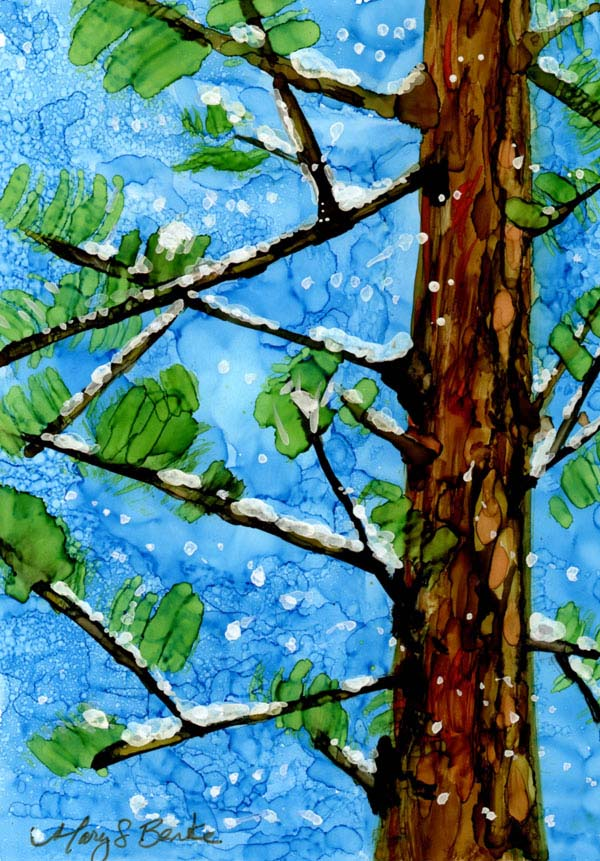 Alcohol ink holiday painting with a pine tree with snow on it for Christmas by Mary Benke