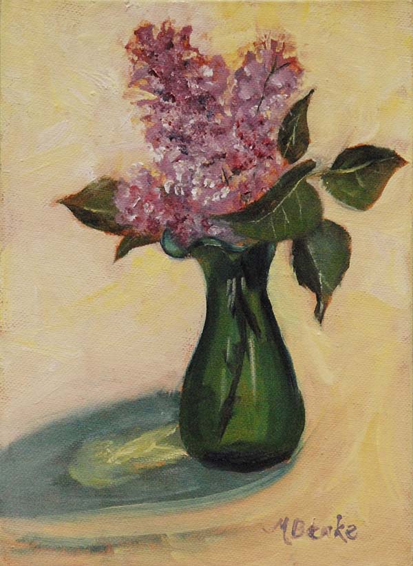 Still life painting of lilacs in green vase with reflections by Mary Benke