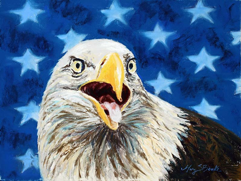 A pastel bird painting of a majestic bald eagle with an abstract U.S. flag with stars in the background by Mary Benke