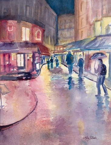 French cafes beckon Parisians and tourists alike out of the weather in this colorful, rain-drenched watercolor featuring multicolored reflections by Mary Benke