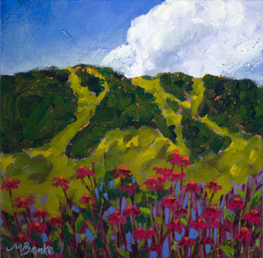 Inspired by a walk through the John Denver Sanctuary in Aspen, Colorado, this impressionistic oil landscape features a foreground of bright echinacea blooms against the famous Aspen ski area by Mary Benke