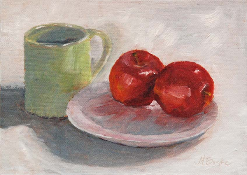 Still life oil painting of green coffee mug with apples on plate by Mary Benke
