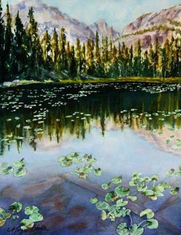 Landscape watercolor painting of Rocky Mountain National Park's Nymph Lake with mountains, pine trees, and water lilies reflected in the lake by Mary Benke