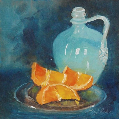 Still life oil painting of antique blue vase with orange slices on clear plate by Mary Benke