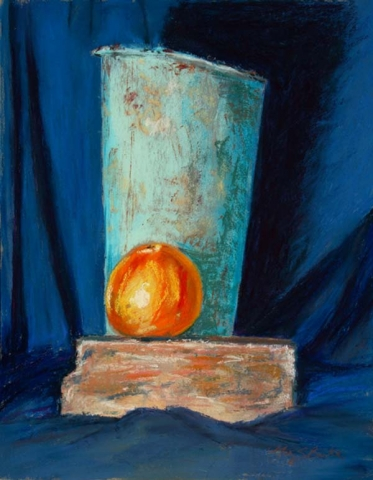 Still life pastel painting of a blue vase with an orange on a brick on a dark blue background by Mary Benke