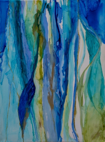 Abstract painting of teal, blue, and green with gold veins in alcohol ink on canvas by Mary Benke