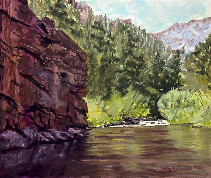 Landscape pastel painting of Phantom Canyon, a prime fly fishing river in Colorado by Mary Benke