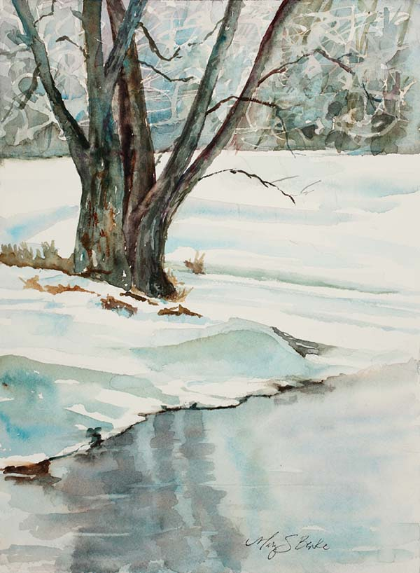Watercolor landscape painting of a bare tree, blue snow bank and icy river by Mary Benke