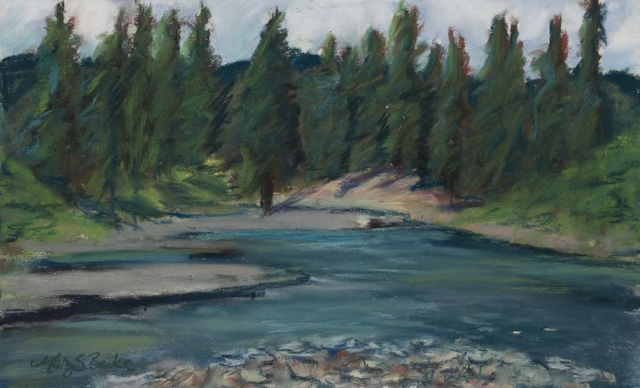 Pastel landscape painting of Rio Blanco River near Pagosa Springs, Colorado, done in blues and greens by Mary Benke