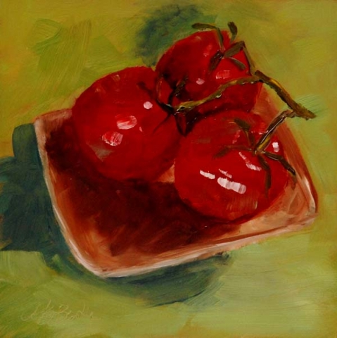 Still life oil painting of red tomatoes against a lime green background by mary benke