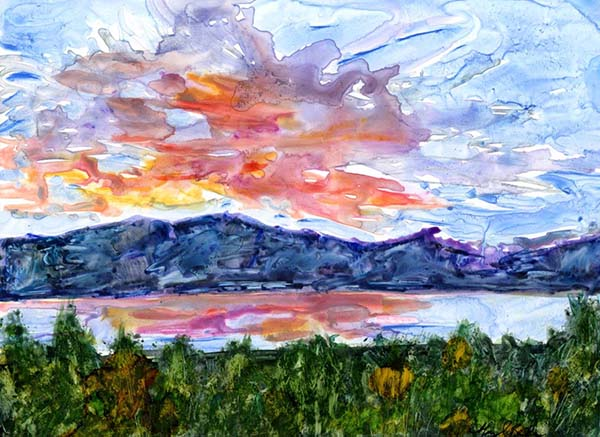 Abstract watercolor on Yupo sunset landscape painting of colorful cloud reflected in a lake by Mary Benke