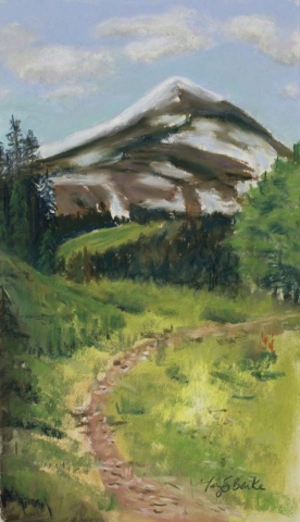 Pastel landscape painting of a mountain hiking patch leading up to a snow-covered mountain peak by Mary Benke