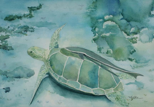 This underwater watercolor painting of a sea turtle (complete with hitch-hiking  remora fish) features beautiful blues, aquas and greens by Mary Benke