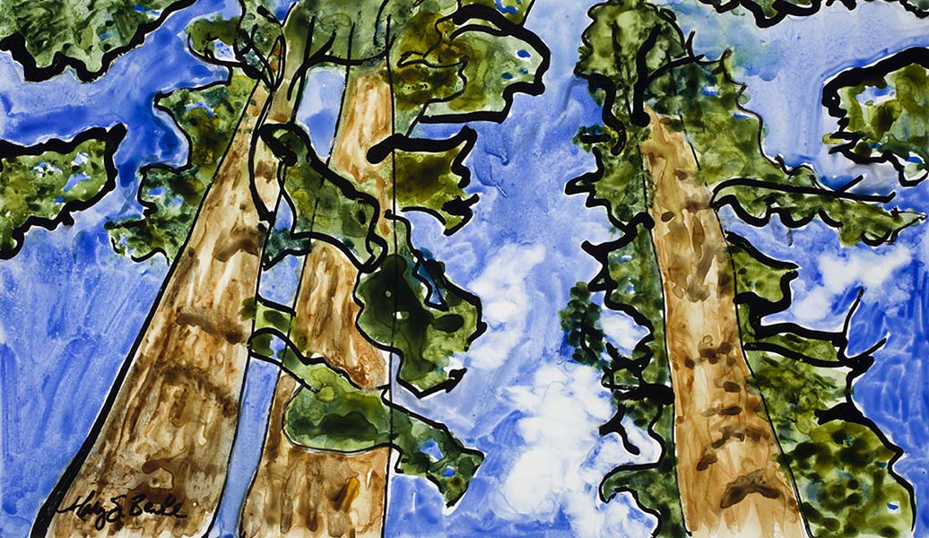 Bright, fluid watercolor strokes combined with varied ink lines on a slick Yupo surface make this an abstract representation of one of America's treasures, sequoia trees, by Mary Benke